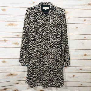 Loft long sleeve button front animal print dress
